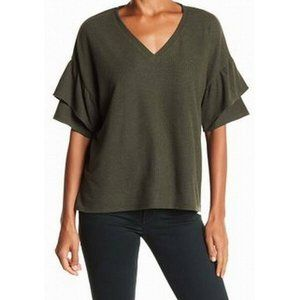 H By Bordeaux Green Top Large Flutter Sleeve 1561